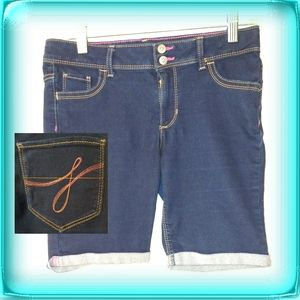 Jordache girls denim jean shorts pink stitching 16